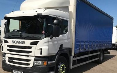 Scania P250 curtainside rigid